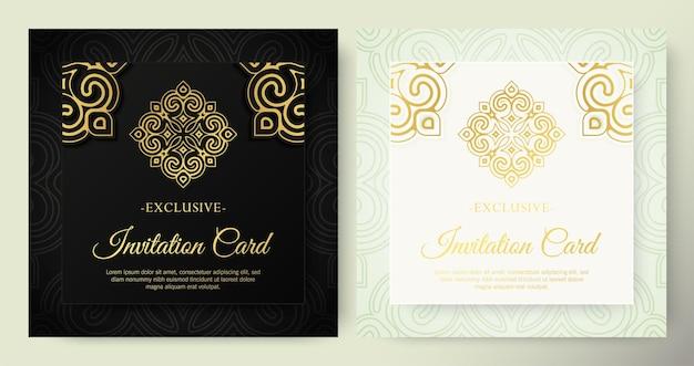 만다라 스타일의 고급스러운 흰색과 검은색 초대 카드