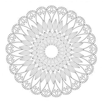 Mandala tribal round decorative outline