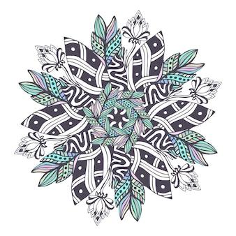 花のスタイルのマンダラベクトル。ブックページを着色するためのzentangle。ヘナ刺青のデザインのための装飾パターン