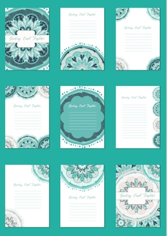 Mandala vintage card set in arabic and indian style