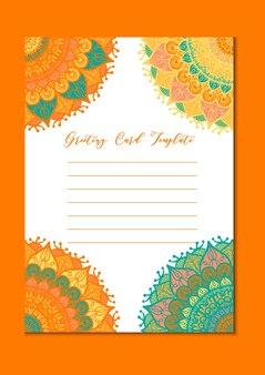 Винтажная открытка-шаблон мандалы в арабском и индийском, исламе и оттоманском, турецком, азиатском стиле для брошюры, флаера, приветствия, пригласительного билета, обложки. формат а4. цветочный праздник орнаментального дизайна. вектор