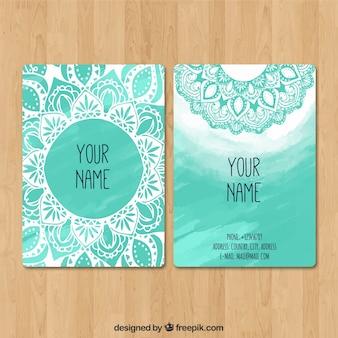 青色のマンダラ訪問カード