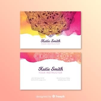 Mandala watercolor business card template