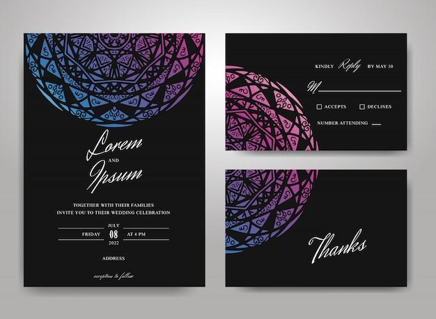 Mandala wedding invitation card template set