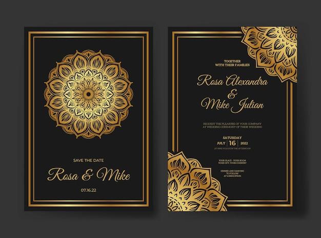 Шаблон свадебного приглашения мандалы премиум