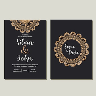 Mandala wedding invitation vector.