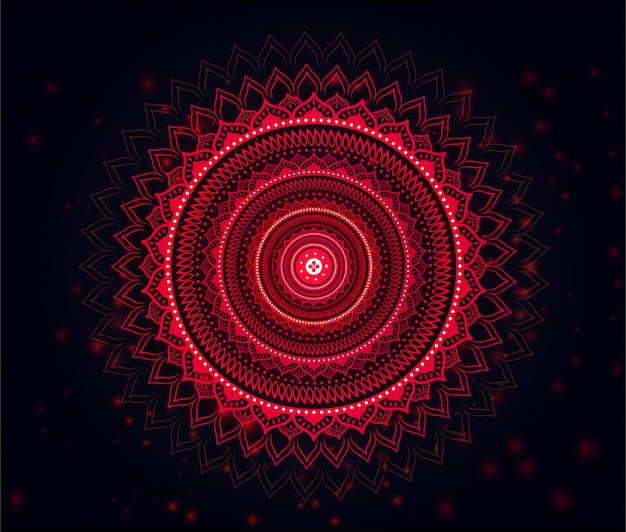 Mandala with beautiful soft red & black gradient background red