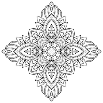 Mandala with flower . decorative ornament in ethnic oriental style. outline doodle hand draw  illustration.