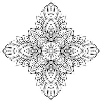 花と曼荼羅。エスニックオリエンタルスタイルの装飾飾り。落書き手描きイラストの概要を説明します。