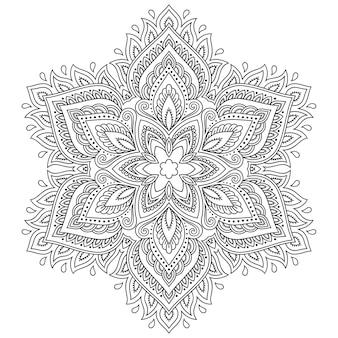 花の曼荼羅、一時的な刺青。エスニックオリエンタルスタイルの装飾飾り。