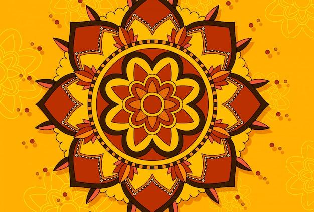 Mandala on yellow scene