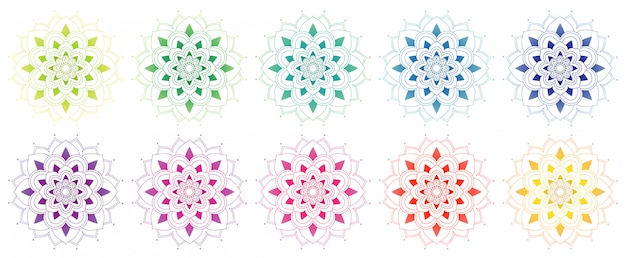 Коллекция mandala во многих цветах