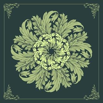 Mandalaオーナメントデザインフローラルグリーン