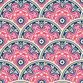 マンダラシームレスパターンタイルベクトルabstarct背景。抽象的な幾何学的なプリント