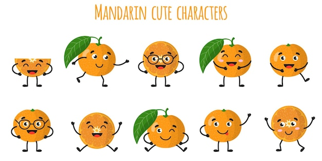 Mandarin citrus fruit cute funny cheerful characters with different poses and emotions. natural vitamin antioxidant detox food collection.   cartoon isolated illustration.