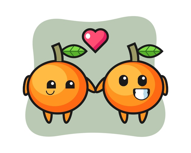 Mandarin orange cartoon character couple with fall in love gesture, cute style , sticker, logo element