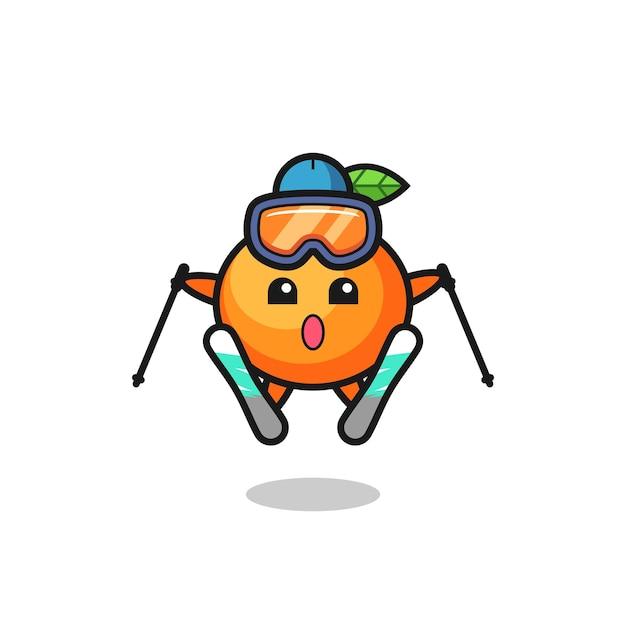 스키 선수로서의 만다린 오렌지 마스코트 캐릭터, 티셔츠, 스티커, 로고 요소를 위한 귀여운 스타일 디자인