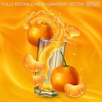 Мандарины и стакан брызг сока на фоне фруктового сока.