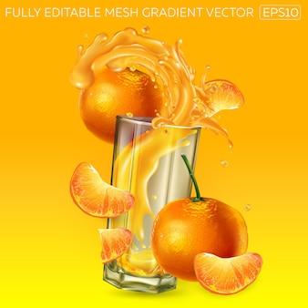 Mandarins and splashing juice in a glass.