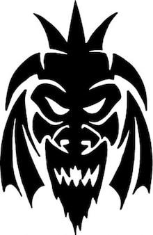 Mandrillo maschera in bianco e nero set di icone vettoriali