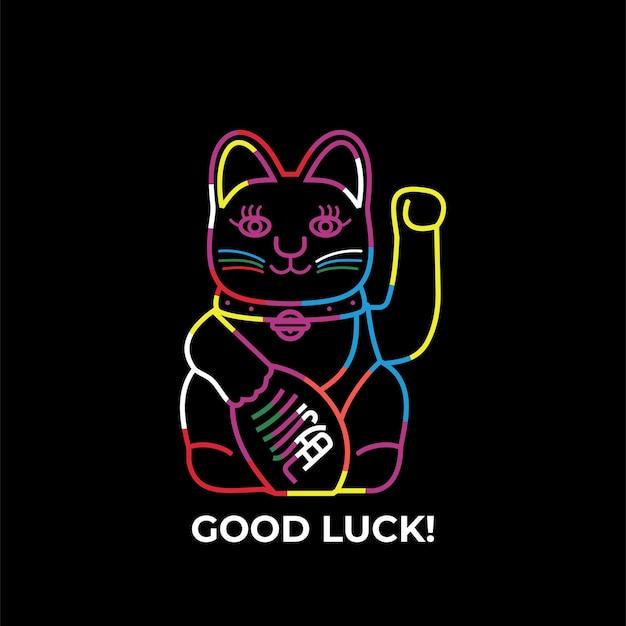 Кот манэки-нэко желает удачи с поднятой лапой векторная иллюстрация линии