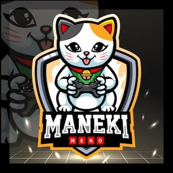 Maneki neko игровой талисман дизайн логотипа киберспорта