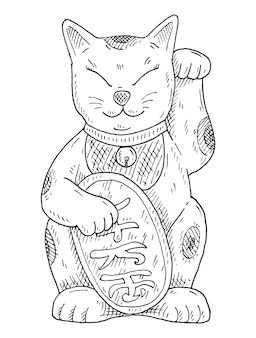 Maneki neko. japan lucky cat with raised paw. vintage vector hatching monochrome black illustration. isolated on white background. hand drawn ink design