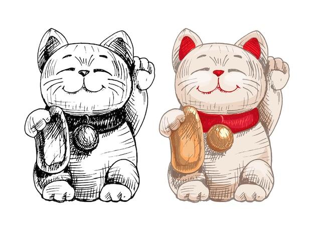 Maneki neko. japan lucky cat with raised paw. vintage vector hatching