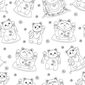 招き猫日本の猫の幸運のシームレスなパターン。塗り絵。ベクトルの背景のアウトライン。