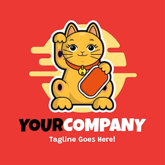 招き猫のロゴのテンプレート