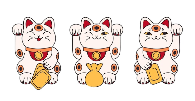 Манеки неко счастливый кот в мультяшном дизайне