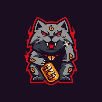 Maneki neko mascot and gaming logo