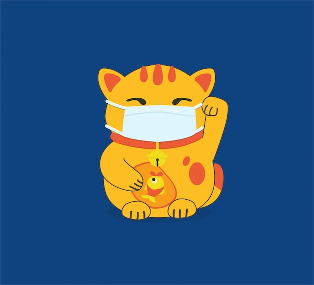 Maneki-neko wearing face masks. air pollution, contaminated air, world pollution. modern flat illustration. group of coworkers wearing medical masks to prevent disease, flu, gas mask.