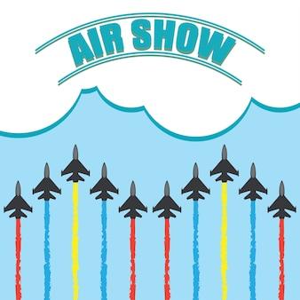 Маневры истребителей в голубом небе для авиашоу. векторные иллюстрации