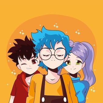 Manga boys and girl cartoons