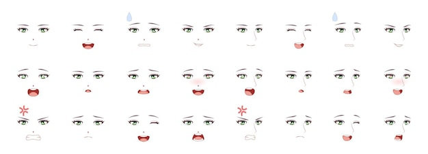 Manga male expression. man emotions anime faces. eyes, mouth and eyebrows japanese or korean boy characters set in kawaii asian style, comic people feelings symbol cartoon vector isolated collection