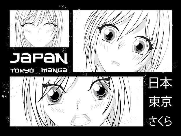 Стиль манга. японский мультфильм комическая концепция. аниме персонаж.