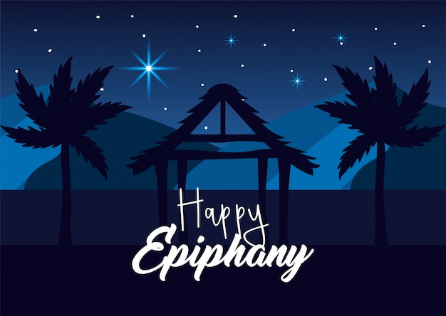 Manger with palm tree and stars to happy epiphany