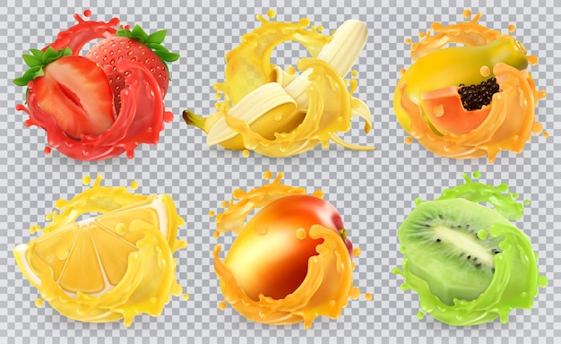 Mango, banana, kiwi fruit, strawberry, lemon, papaya juice. fresh fruits and splashes, 3d realistic vector illustration set