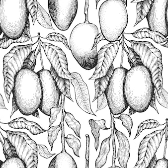 Mango branches seamless pattern. hand drawn  tropic fruit. engraved style fruit . vintage exotic food background.