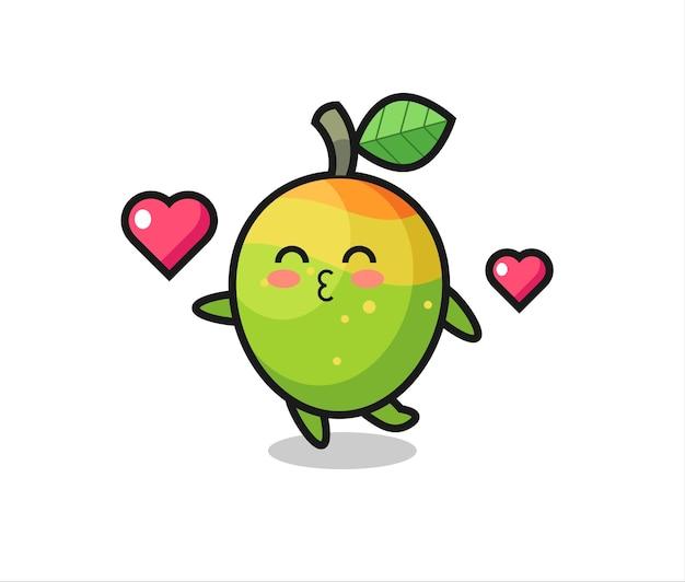 キスジェスチャー、tシャツ、ステッカー、ロゴ要素のかわいいスタイルのデザインとマンゴーキャラクター漫画