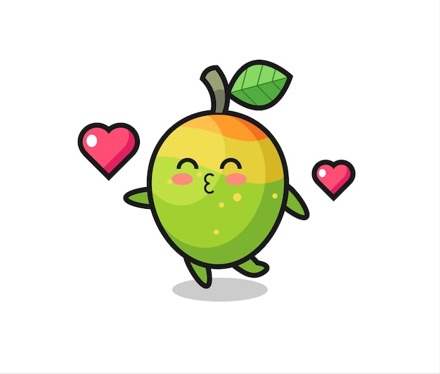 Mango character cartoon with kissing gesture , cute style design for t shirt, sticker, logo element