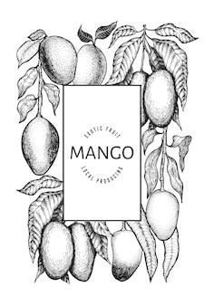 망고 디자인 템플릿. 손으로 그린 벡터 열 대 과일 그림입니다. 새겨진 스타일의 과일. 빈티지 이국적인 음식 배너입니다.