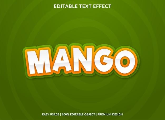 Редактируемый текстовый эффект манго премиум стиль