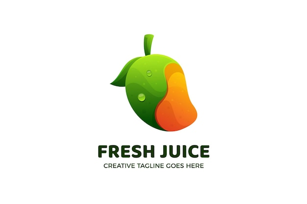 マンゴーフレッシュジュースのグラデーションロゴのテンプレート