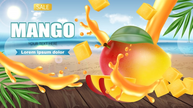 Mango fruit sliced on tropic banner