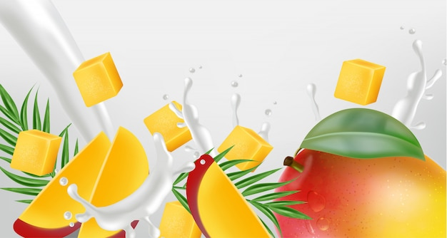 Mango fruit with milk splash