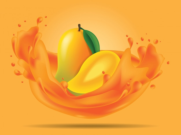 Mango fruit with splash juice illustration