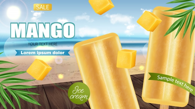 Mango ice cream banner