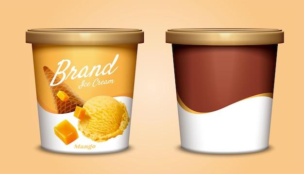 Дизайн упаковки контейнера чашки мороженого манго в 3d иллюстрации